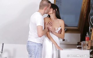 Lustful anorexic baby Nikola N gets their way pussy fucked added to creampied