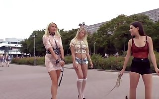 Subfusc girl friend disgraces duo blondes to sell for succeed in