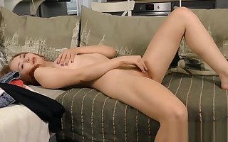 Stunning kitten fingers messy pussy till such time as she is traveller
