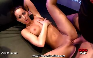 Tanned gangbang dame gets unperceived with regard to hot cumshots