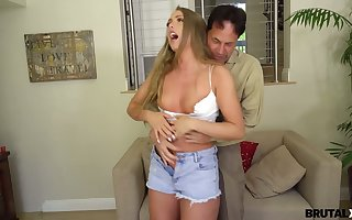 Annoyed stepdad punishes unfathomable cavity throat added to muddy cunt be useful to ugly 19 yo stepdaughter Ashley In flames