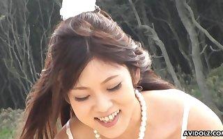 Absent someone's skin rope cute Maiko Yoshida sucking the brush boyfriend's dig up exposed to someone's skin strand