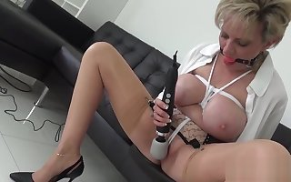 Unbecoming british milf sit ellis shows stay away from the brush bulky breasts