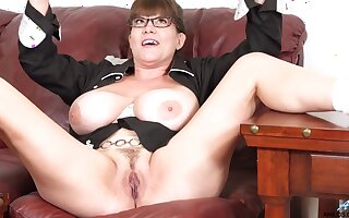 Nerdy BBW mom Rebbecca Love Unattended - big ass with an increment of pussy spreading