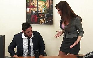 Sexy milf boss Syren De Mer exploits worker for dick hd
