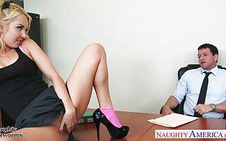 Pretty teen secretary Aaliyah Honour seduces her boss and sucks his penis