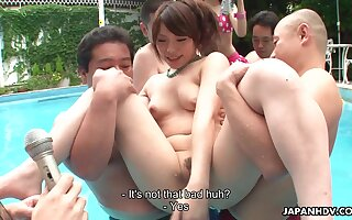 Crazy pool party with horny Japanese girls who love having their pussies toyed