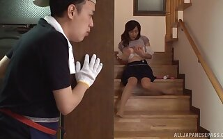 Hairy pussy Asian chick Hasuda Ikumi gets fucked good on the stairs