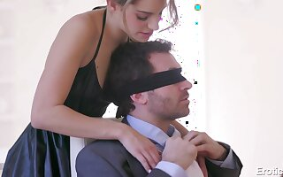 Blindfolded lucky dude is winded with a sensual double blowjob
