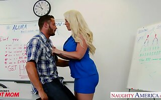 Chubby blonde MILFie tutor Alura Jenson is fucked hard right overhead the table