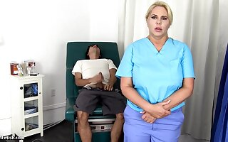 Sensuous, blondie nurse is using every chance to get screwed, even even if she is at work