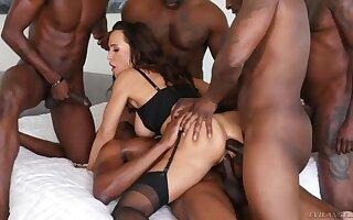 Sex queen Lisa Ann is fucked added to jizzed by yoke insatiable black guys